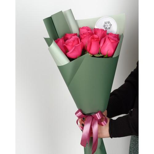 Купить на заказ Букет из 7 розовых роз с доставкой в Кокшетау