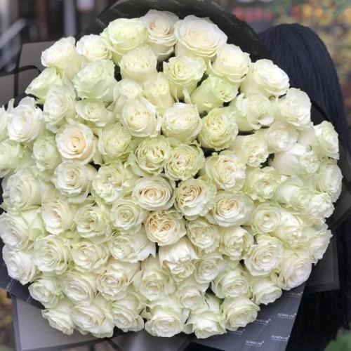 Купить на заказ Букет из 75 белых роз с доставкой в Кокшетау