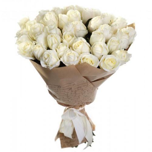 Купить на заказ Букет из 35 белых роз с доставкой в Кокшетау