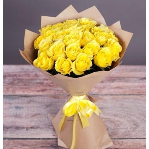 Купить на заказ Букет из желтых роз с доставкой в Кокшетау