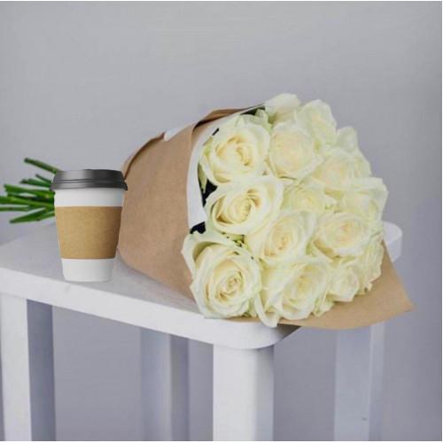 Купить на заказ Кофе с цветами с доставкой в Кокшетау