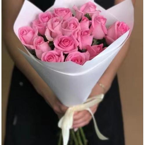 Купить на заказ Заказать 15 розовых роз с доставкой по Кокшетау с доставкой в Кокшетау